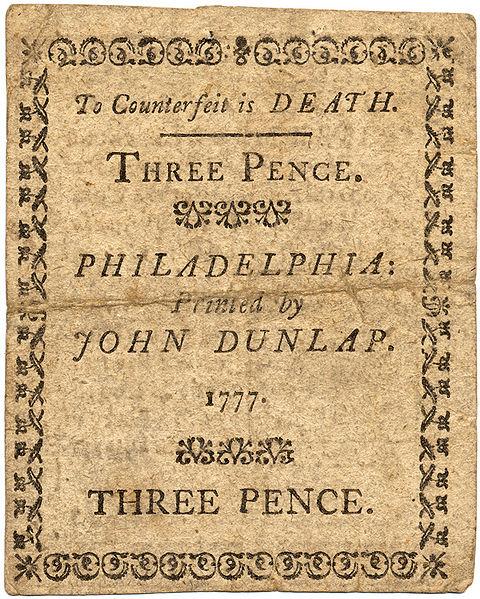 John Dunlap Note 1777